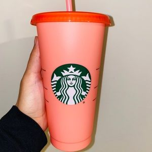 Starbucks peach to Hot pink color changing tumbler